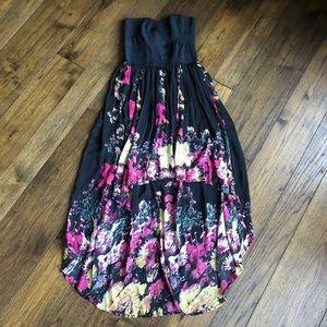 Sans Souci Strapless Black and Floral Dress